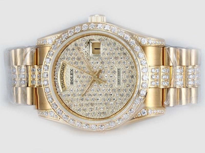 Replica Rolex Day Date Schweizer Eta 2836 Voll Gold Mit Diamant