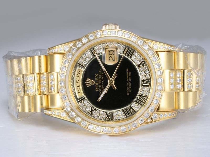 Replica Rolex Day Date Automatik Diamant Lunette Und Zifferblatt