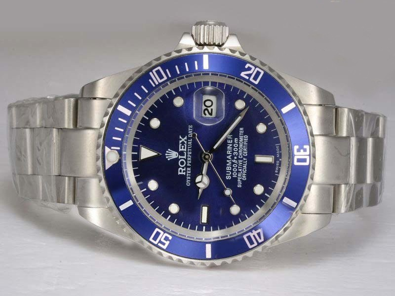 rolex submariner blau l nette und zifferblatt uhr. Black Bedroom Furniture Sets. Home Design Ideas
